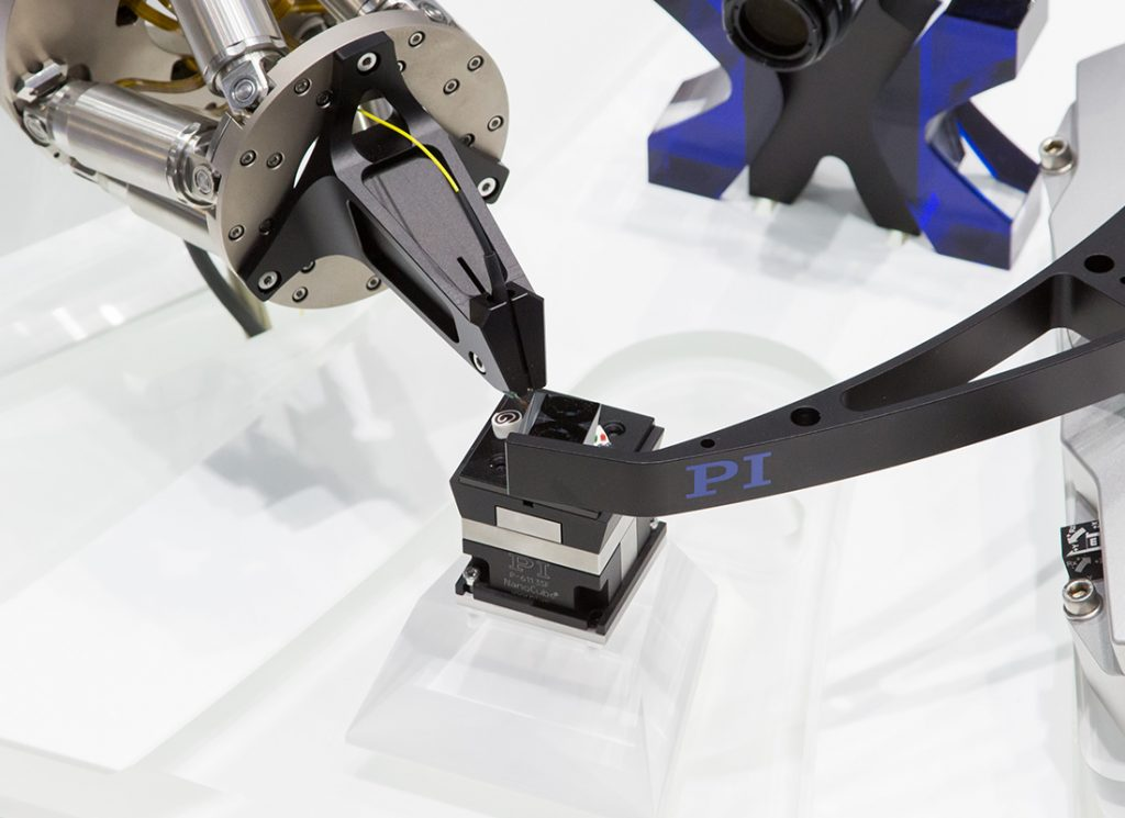 Image 1. Today, microproduction technology demands high-precision, mostly multiaxis positioning systems for both assembly and quality assurance. Thanks to its high stiffness, the Hexapod can be mounted in any direction. (Image: PI)