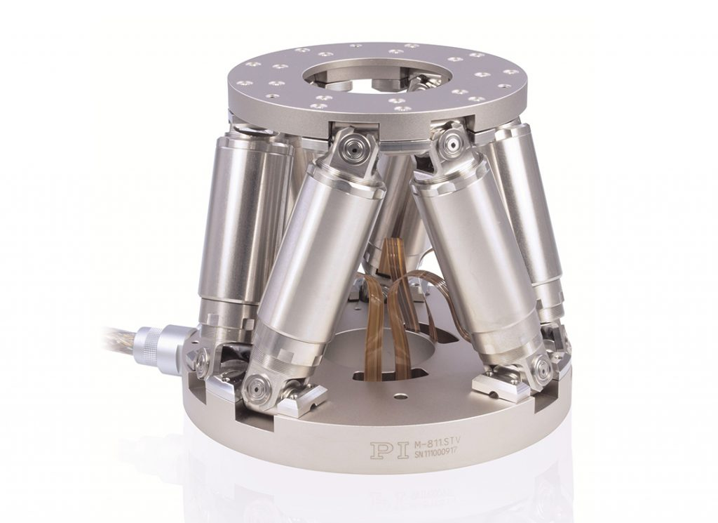 Image 3. The H-811 mini Hexapod is used for example, in test systems for smartphones. (Image: PI)